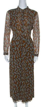 Burberry Brown Leaf Print Silk Long Sleeve Midi Dress M