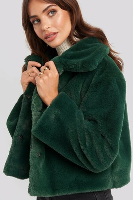 Rut & Circle Elin Faux Fur Short Jacket Green