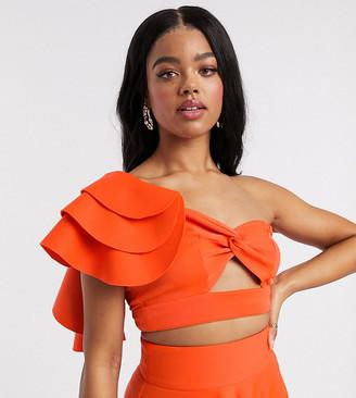 Laced in Love ruffle top co-ord in orange