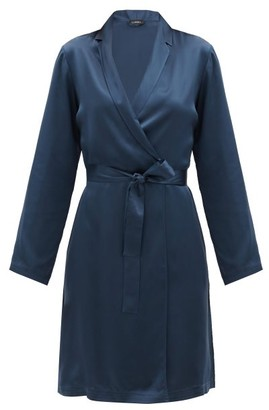 La Perla Belted Short Silk-charmeuse Robe - Dark Blue