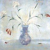 ArtToCanvas 36in x 36in Le Vase Bleu by Mary Calkins - Stretched Canvas w/ BRUSHSTROKES