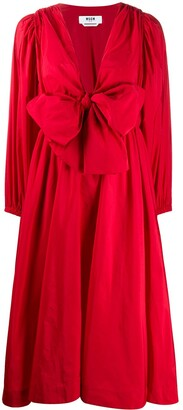 MSGM bow front plunge dress
