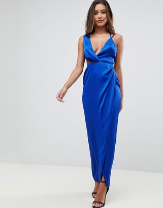 Asos Design Sexy Cut Out Strappy Maxi Dress-Blue