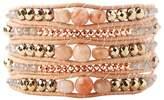 Chan Luu Pink Mix of Semi Precious Stones Rose/Tan Leather Wrap Bracelet