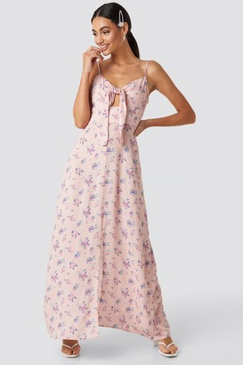 NA-KD Front Tie Floral Maxi Dress
