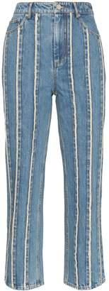 XU ZHI stripe detail straight leg jeans