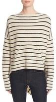 Brochu Walker Reir Stripe Wool & Cashmere Asymmetrical Pullover