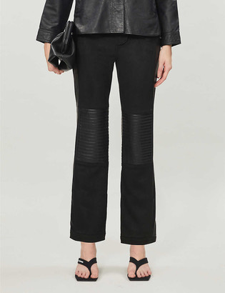 Topshop Biker straight-leg mid-rise faux-leather and faux-suede trousers