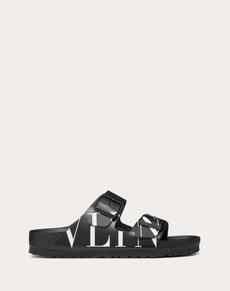 Birkenstock Valentino Garavani Uomo Vltn Slide Sandal In Collaboration With Man Black Calfskin 100% 39
