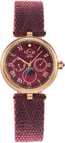 Gv2 Florence Moon Phase Diamond Swiss Watch with Handmade Italian Leather Band, Red