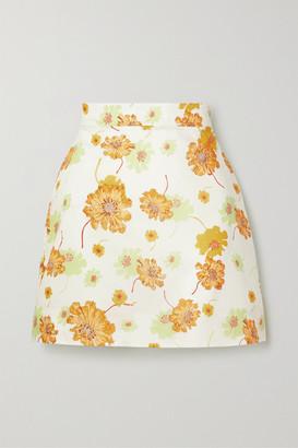 The Vampire's Wife Frill Seeker Floral-print Cotton Mini Skirt - Ecru