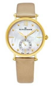 Stuhrling Original Alexander Watch A201-02, Ladies Quartz Small-Second Watch with Yellow Gold Tone Stainless Steel Case on Gold Satin Strap