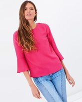 Warehouse Fluted Sleeve Crinkle Top