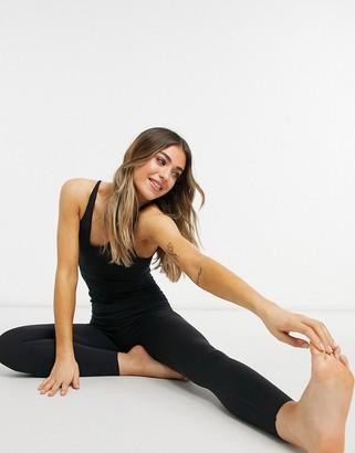 Nike Training Nike Yoga luxe layered 7/8 jumpsuit in black