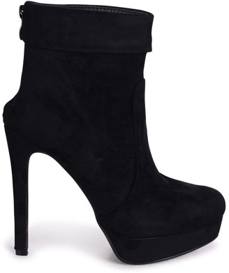 Linzi FAITH - Black Suede Platform Boot With Stiletto Heel And Ankle Cuff Detail
