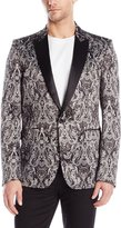 Just Cavalli Men's Royal Batik Print Satin Dinner Jacket Black Jacket