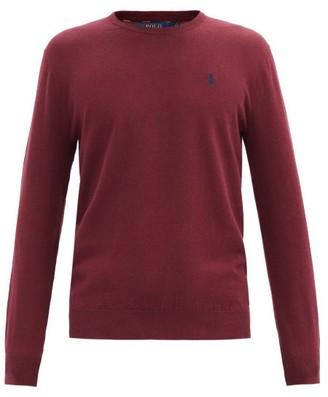 Polo Ralph Lauren Logo-embroidered Cotton-jersey Sweater - Burgundy