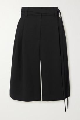 Valentino Belted Wool-twill Shorts - Black