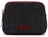 ED Ellen Degeneres Darien Laugh-Embroidered Denim Small Cosmetic Pouch