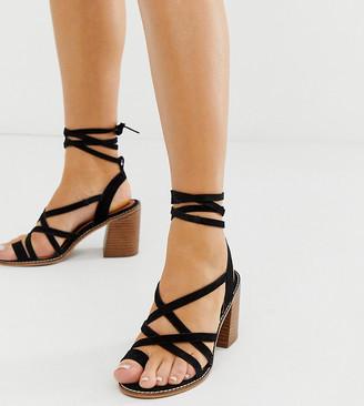 Asos Design DESIGN Wide Fit Trivia tie leg suede sandal-Black