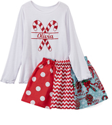 Beary Basics White Candy Cane Personalized Tee & Red Skirt - Toddler & Girls
