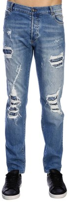 Balmain Jeans Slim Fit Jeans In Used Effect Denim With Maxi Breaks And Logoed Patches