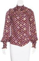 Anna Sui Ruffle-Trimmed Silk Top