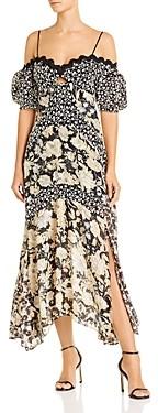 Rebecca Taylor Off-The-Shoulder Mixed Print Midi Dress