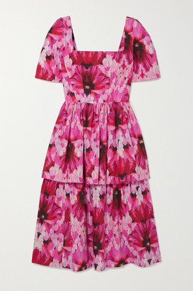 Alexander McQueen Tiered Printed Cotton-poplin Midi Dress - Pink