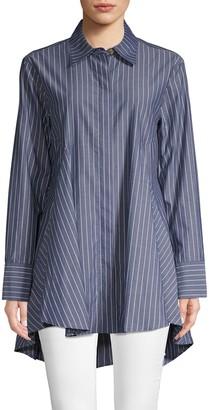 Donna Karan Striped Cotton Long-Sleeve Shirt