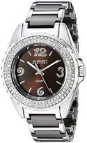 August Steiner Women's AS8036BR Crystal Accented Silver & Brown Ceramic Bracelet Watch