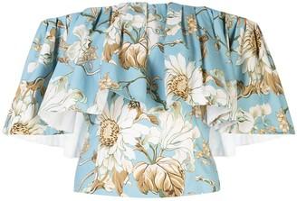 Oscar de la Renta Floral-Print Off-The-Shoulder Ruffle Blouse