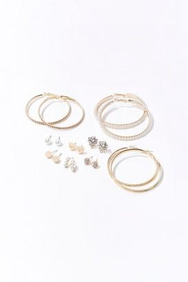 Forever 21 Embellished Hoop Stud Earring Set
