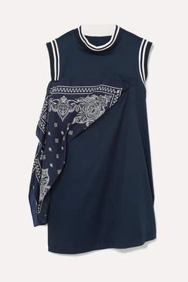 Sacai Paneled Cotton-jersey And Satin Mini Dress - Navy