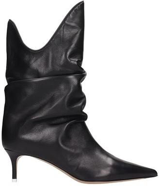 ATTICO Low Heels Ankle Boots In Black Leather