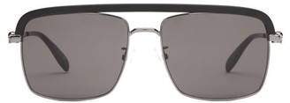 Alexander McQueen Browline Acetate And Metal Sunglasses - Ruthenium-ruth-grey