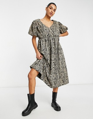 ASOS DESIGN wrap front midi smock dress with short puff sleeve in snake print