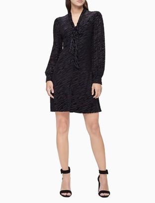 Calvin Klein Velvet Animal V-Neck Long Sleeve Dress