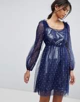 Tresophie Silver Glitter Ruffle Dress