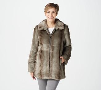 Dennis Basso Madison Avenue Faux Fur Zip-Front Jacket w/ Trim