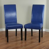Monsoon Villa Faux Leather Blue Dining Chairs (Set of 2)