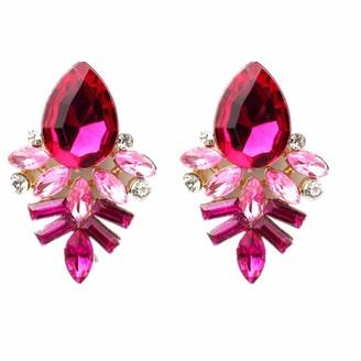 wuayi Ladies Rhinestone Crystal Eardrop Dangle Stud Earrings for Women Jewelry for Gift (Hot Pink)
