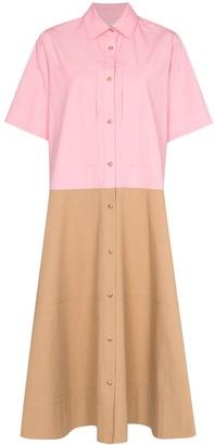 Lee Mathews May colour-block panelled shirt dress