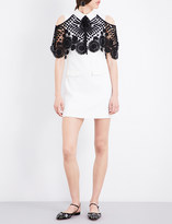 Self-Portrait Lace-overlay woven mini dress