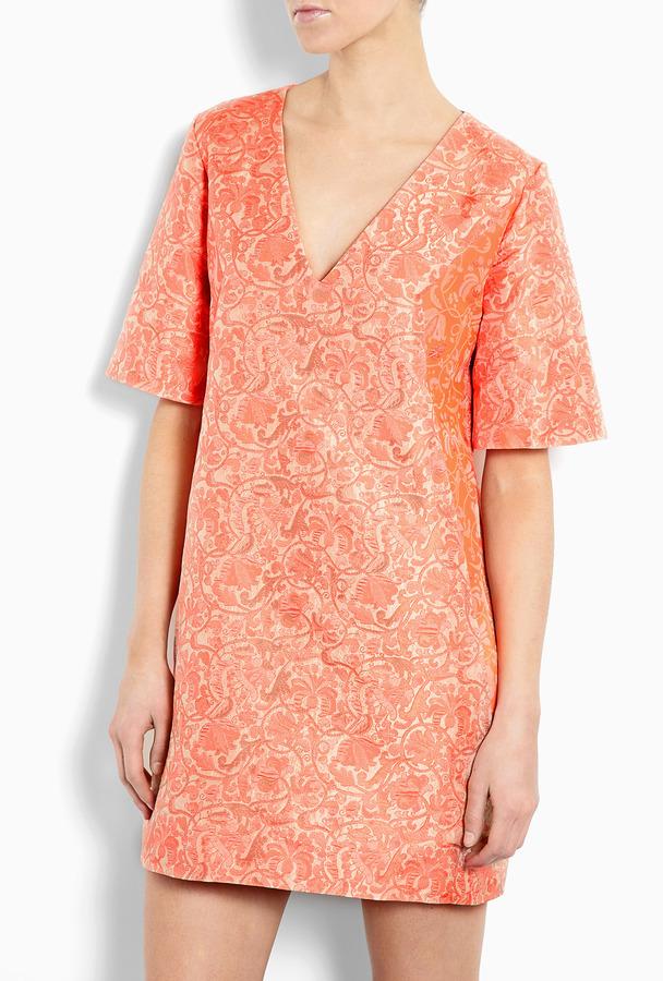 Richard Nicoll V-neck Silk Jacquard Shift Dress