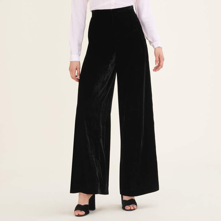 Maje Wide-leg velvet trousers
