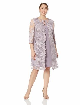 Alex Evenings Women's Plus Tea Length Mock Jacket Dress (Petite and Regular Size)