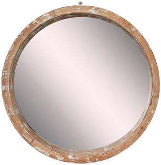 Brimfield & May Vintage Style Distressed Large Round Wood Wall Mirror