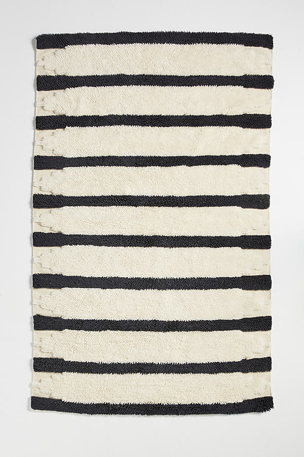 Tufted Perrin Rug By Anthropologie in Black Size 5X8