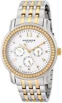 Akribos XXIV Women's AK626TTG Lady Diamond Multifunction Diamond and Crystal Gold-Tone and Silver-Tone Stainless Steel Bracelet Watch